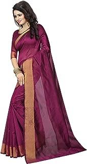 ETHNICMODE Women's Cotton Silk Style Saree with Blouse Piece (Multi-Color_Free_Size) Monika Purple NS