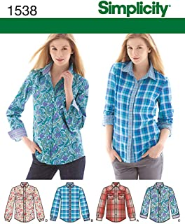 Simplicity 1538 Women's Button Up Shirt Sewing Patterns, Sizes 6-14