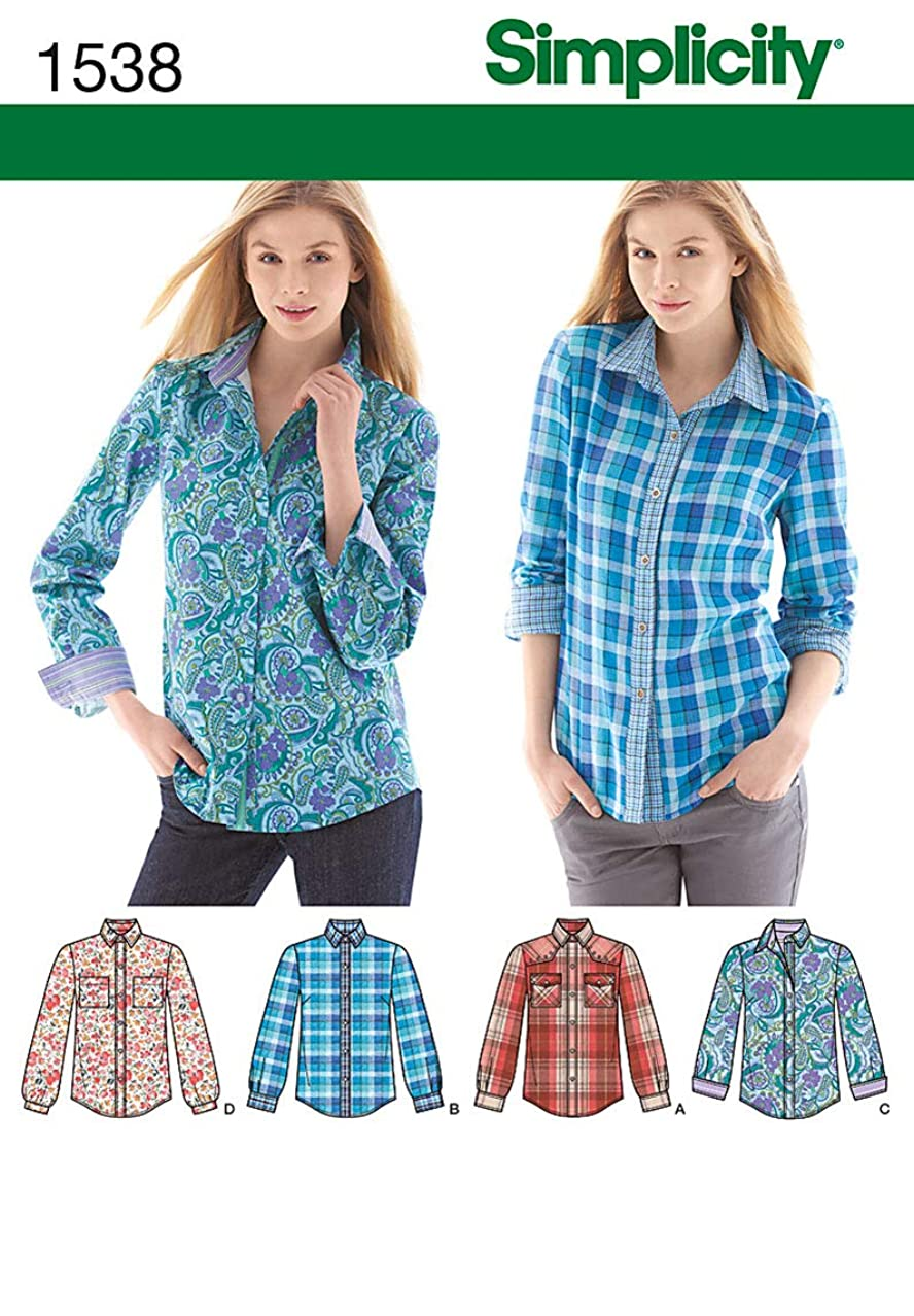 Simplicity Pattern 1538 Misses Shirt with Sleeve and Fabric Variations Sizes 14-16-18-20-22