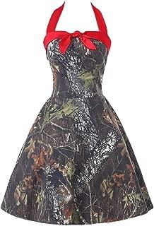 DianSheng Women's Short Halter Camouflage Homecoming Cocktail Dress Evening Ball Gown CK14