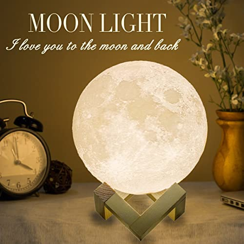 Mydethun Moon Lamp Large Moon Light Night Light for Kids Gift for Women USB Charging and Touch Control Brightness Two...