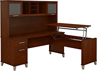 Bush Furniture Somerset 72W 3 Position Sit to Stand L Shaped Desk with Hutch in Hansen Cherry