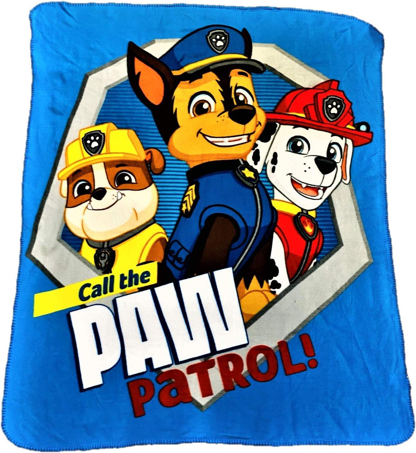 "Paw Patrol Chase Throw Blanket Team Players 45/"" x 60/"" w// Drawstring Sling Bag"