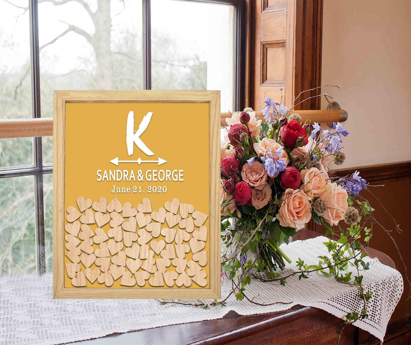 PotteLove Personalized Drop Box famous Wooden with Frame K Mr Initials All items free shipping