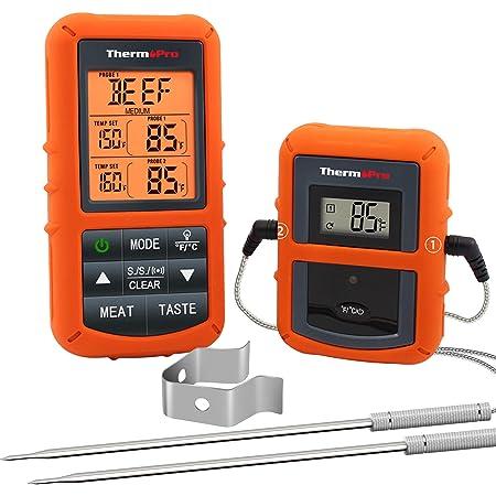 ThermoPro TP20 Thermomètre de Cuisson Numérique à Distance avec Sondes Double Minuterie et Température Préréglée pour Les Aliments Viande Four Fumoir BBQ