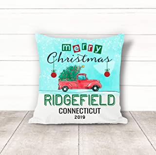 Christmas Pillow Covers 18 x 18 Inches Merry Christmas 2019 Ridgefield Connecticut CT Pillow Decorations for Xmas Autumn Pillow Covers Home Decor Design for Sofa Bedroom Car