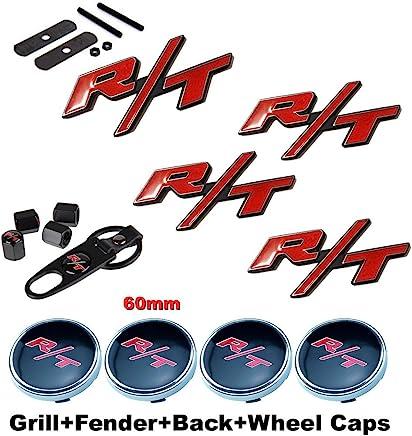 BENZEE 11pcs Set AM122 RT R/T Front Grille + Fender + Back Car Emblem Badge Sticker + Wheel Hub Caps + Tire Valve Caps For Dodge Charger Ram 1500 Challenger ...