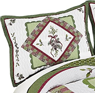 Woodland-Inspired Pinecone Patchwork Quilted Pillow Sham