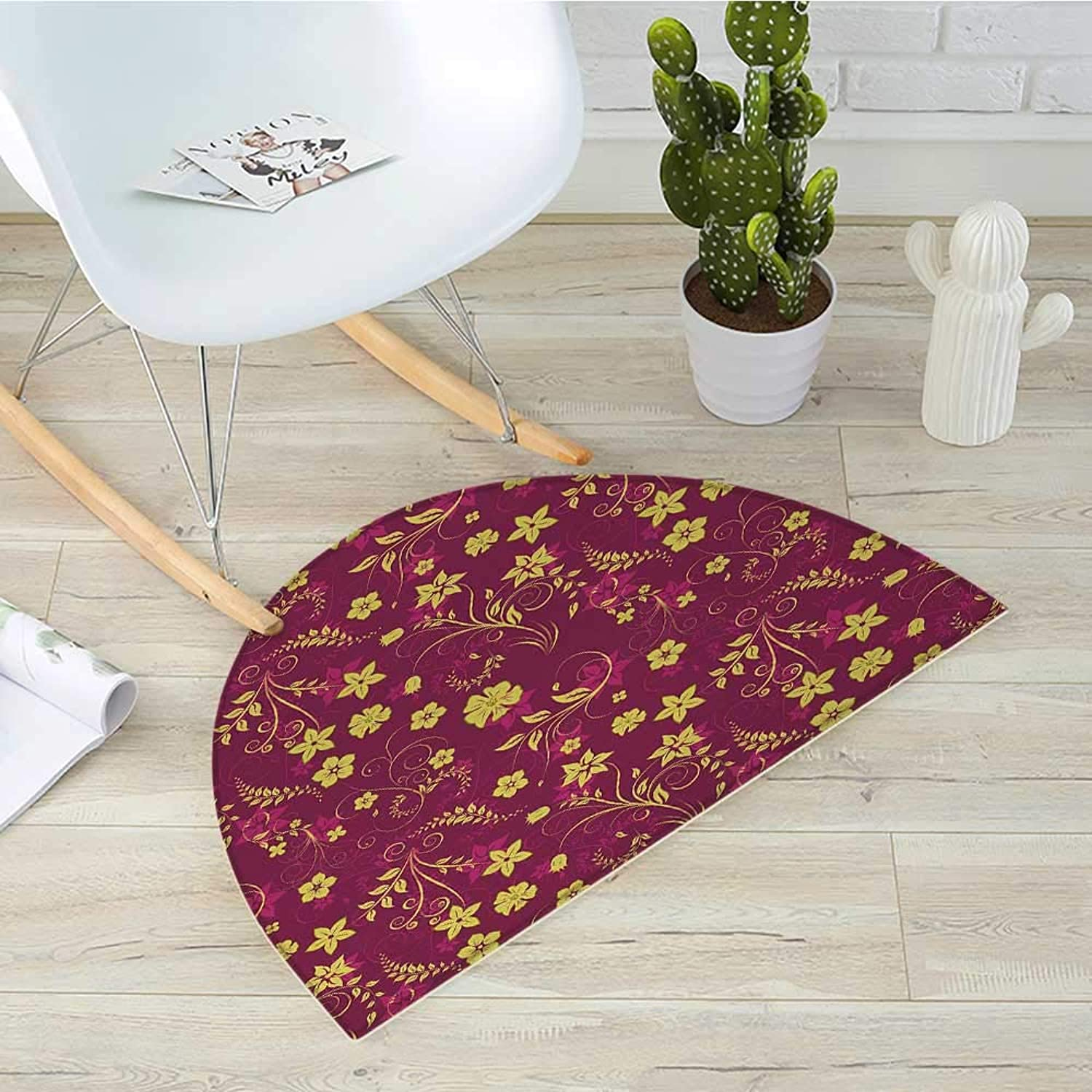 Floral Half Round Door mats Abstract Ornamental Spring Flowers Pattern Artistic Illustration Bathroom Mat H 31.5  xD 47.2  Claret Red and Light Green