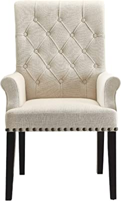 Amazon Com Abbyson Living Kyrra Tufted Linen Wingback Dining Chair In Cream Chairs