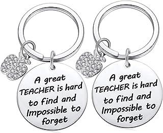 Teacher Gifts Appreciation Keychain for Women Men, Thank You Key Chain Kindergarten Daycare Teachers Diamond Apple Charm Keyrings Present from Student 2pcs