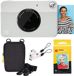 KODAK: Paquete básico de cámara instantánea Printomatic (Gris) + Papel Zink (20 Hojas) + Funda cómoda Correa para el Cuello.