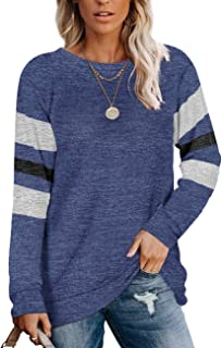 Womens Crewneck Sweatshirts Color Block Long Sleeve...