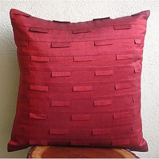 Rouge Foncé Jettent Des Oreillers Couvrent, Plis Nervurés Texture Taie D'Oreiller, 40x40 cm Housses De Coussin, Soie Couve...