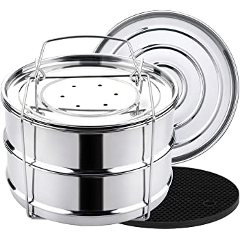 Extorn Stackable Steamer Insert Pans for Instant Pot 6 qt//8 qt//5 qt Electric Pressure Cooker Accessories Duo//multi//2-Tier Stainless Steel Instant Pots Pot in Pot w//Sling Handle for Cooking,Baking