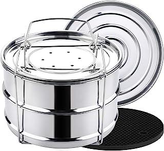 Aozita 3 Quart Stackable Steamer Insert Pans - Accessories for Instant Pot Mini 3 qt - Pot in Pot, Baking, Casseroles, Lasagna Pans, Food Steamer for Pressure Cooker, Upgrade Interchangeable Lids