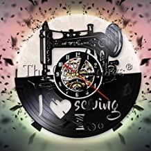 JXCDNB - Máquina de coser, reloj de pared, sierra de niña, disco de vinilo, reloj de pared, diseño moderno, J'aime, coser, arte decorativo sobre la costura, pared de sala de clase 12 pulgadas