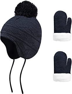 Winter Toddler Hat and Mitten Set Knit Kids Earflap Hat Warm Fleece Gloves Navy