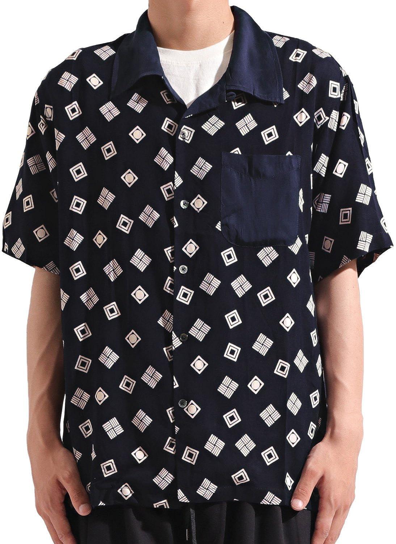バレッタ 半袖 総柄 オープンカラーシャツ 開襟 ワイド ビッグ 夏 メンズ