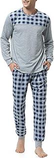 Pijama Hombre Algodón Largo 2 Piezas,Ropa de Dormir Causal Camiseta y Pantalones Cómodo cálido para Otoño e Invierno