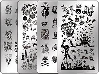 Nail Stamping Plates Halloween Nail Stamping Kit - Ejiubas Stamper Plates Nail Polish Stamping Kit Nail Plates Christmas Nail Stamping Templates Nail Plates Set EJB-X07 X08