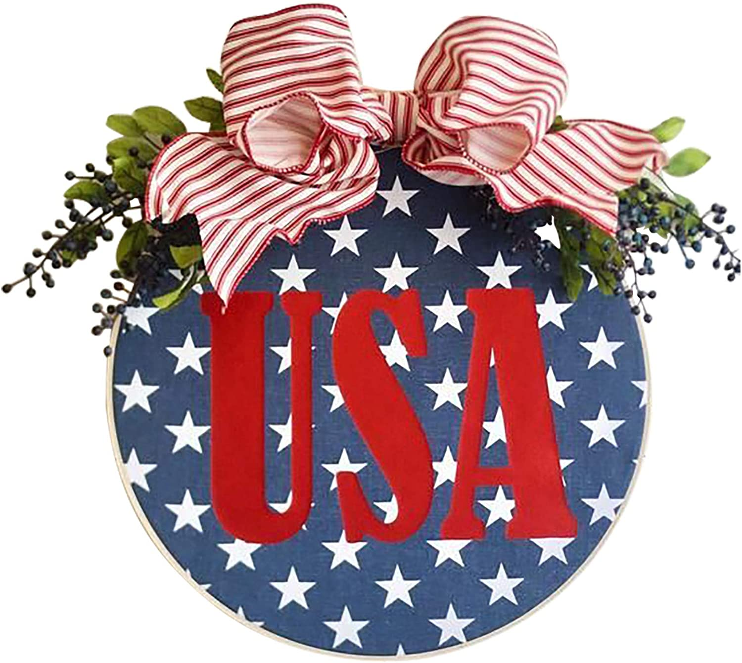 A2A Welcome Wreath Sign for Popular New sales overseas American Front Patriotic Round Door