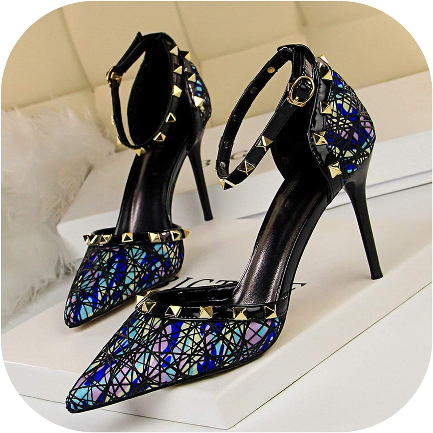 Sexy High Heel Women Stiletto High Heel Shallow Mouth Pointed Hollow Metal Rivet Word with Sandals Ds-3262-2