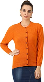 Monte Carlo Orange Solid Wool Round Neck Cardigan