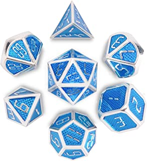QMAY DND Metal Dice, 7 Die Polyhedral Game Dice Solid Metal D&D Dice Set with Metal Box & 2 Pencils for Role Playing Game Dungeons and Dragons D&D Pathfinder Shadowrun and Math Teaching(Blue Silver) …