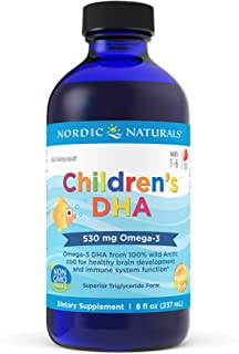 Nordic Naturals Children's DHA, Strawberry - 8 oz - 530 mg Omega-3 with EPA & DHA - Brain Development & Function - Non-GMO...