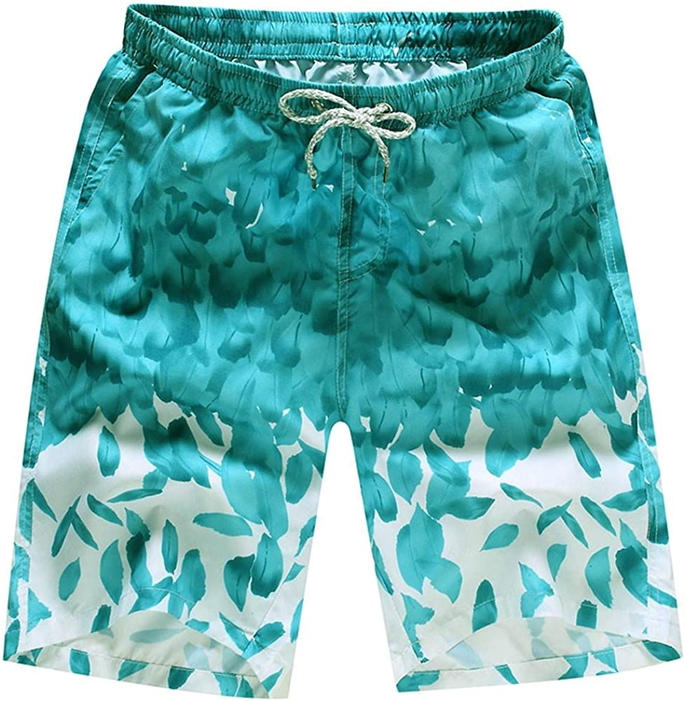 MODOQO Men's Swim Trunks Quick Dry Drawstring Waist Board Shorts with Pocket