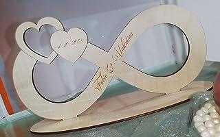 Simbolo Infinito Amore con nomi e data personalizzabile in legno di Betulla da 3mm - 25x13cm con base d'appoggio