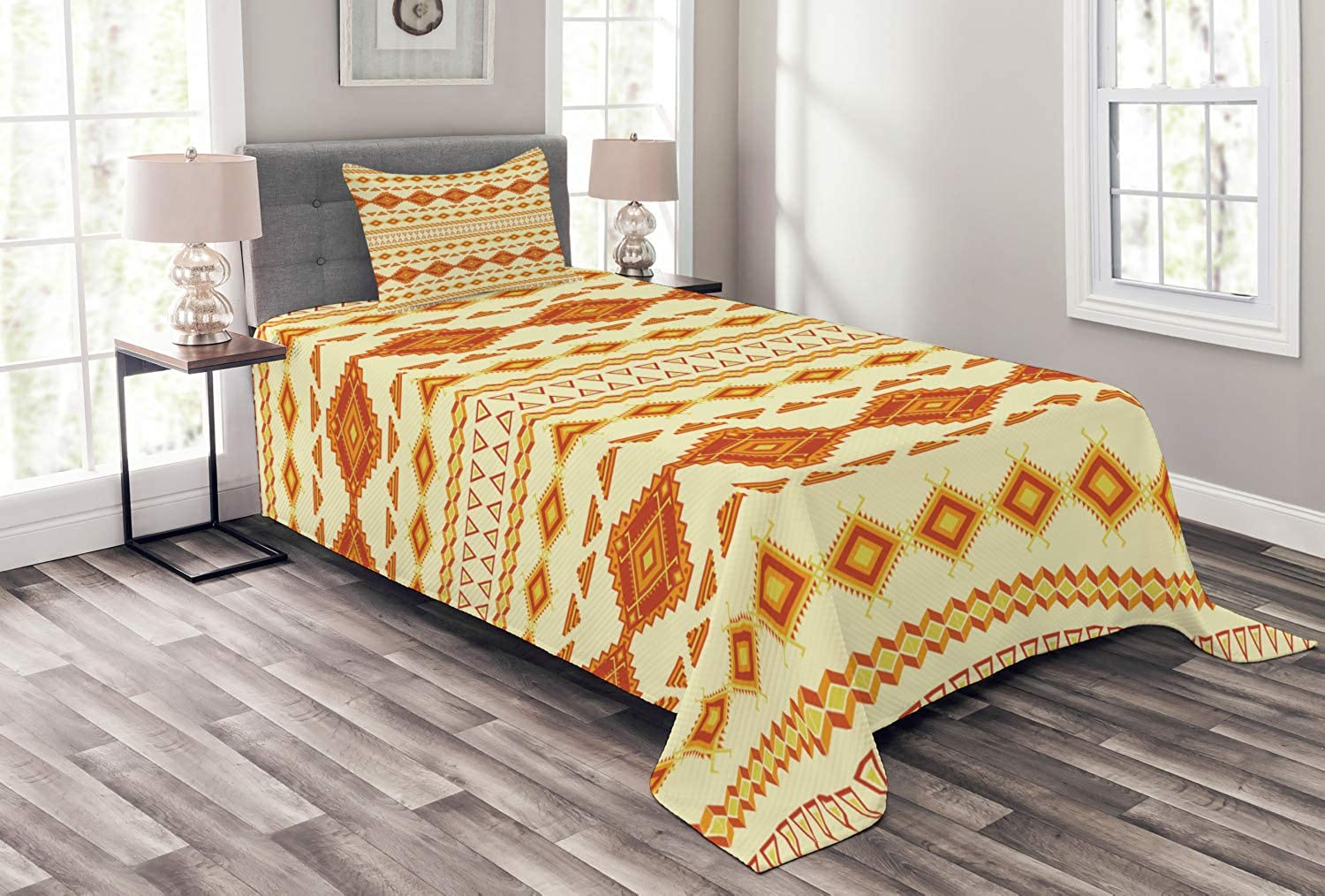 Ambesonne Native American Bedspread Set Twin Size, Old Aztec Pattern with Vintage colors Ethnic Mexican Indigenous Culture, Decorative Quilted 2 Piece Coverlet Set with Pillow Sham, Yellow orange