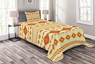Ambesonne Aztec Bedspread, Old Pattern with Vintage Colors Mexican Indigenous Culture, Decorative Quilted 2 Piece Coverlet Set with Pillow Sham, Twin Size, Orange Yellow