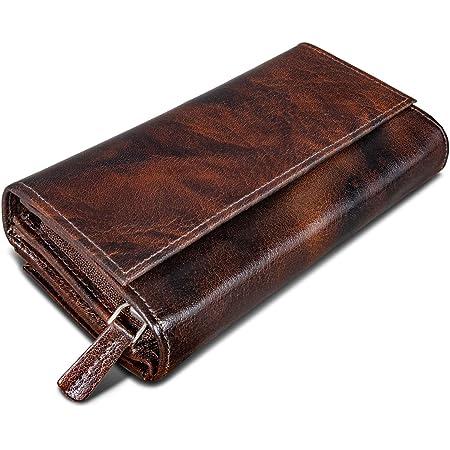ROYALZ Vintage Leder Geldbörse für Damen Portemonnaie groß mit vielen Fächern RFID-Blocker Brieftasche Querformat, Farbe:Azorra Braun