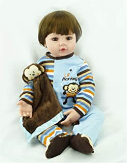 Angelbaby Reborn Dolls Toddler Boy 24 inch Soft Silicone Real Looking Cute Short Brown Hair New Born Baby Reborn Child Toys for Ages 3+
