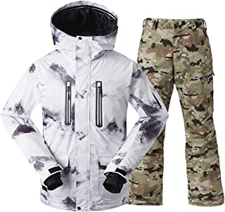 GsouSnow Men's Ski Warm Winter Hooded Suit Jackets Pants Waterproof Windprooof Rain Outdoor Insulated Winter Coat