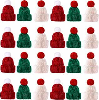 Llxieym 60 Pieces Christmas Knit Hats Mini Knit Hat Christmas Santa Hats Ornament (Red, Green, White)