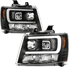 For 2007-2014 Chevy Suburban   Tahoe   Avalanche Left + Right Black LED DRL Projector Head Lights Pair
