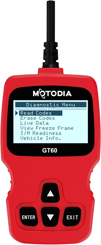 MotoDia GT60 Herramienta de Diagnóstico Profesional a Bordo del Motor OBD2 con Códigos de Error y Función de Borrado de Rrrores, para Coches Posteriores a 1996