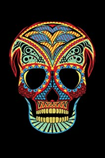 Journal: Sugar Skull Halloween Costume Dia de los Muertos Party Black Lined Notebook Writing Diary - 120 Pages 6 x 9