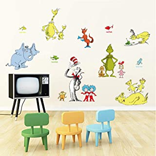 decalmile Dr Seuss Cat in The Hat Wall Stickers Kids Wall Decals Childrens Bedroom Classroom Wall Decor