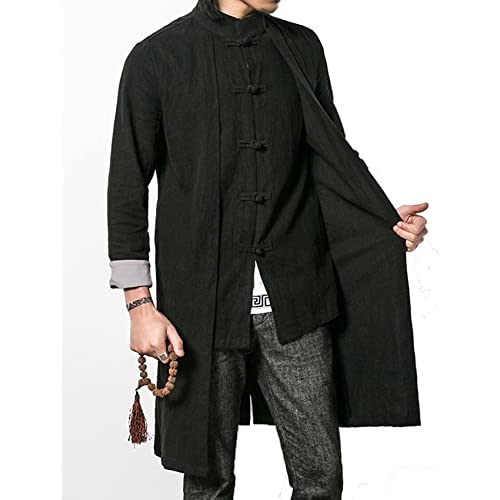 ff8e0c4c9 S&S-Men Vintage Linen Mandarin Collar Frog Button Chinese Style Long Trench  Coat