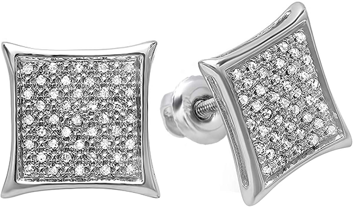 Dazzlingrock Collection 0.20 Carat (ctw) Real White Diamond Kite Shape Men's Hip Hop Iced Micro Pave Stud Earrings 1/5 CT