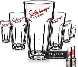 6 x Stolichnaya Glas Gläser Longdrink Vodka Stapelbar Design Gastro Bar