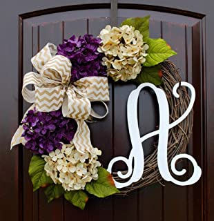 Hydrangea Monogram Letter Wreath with Two Bow Options and Antique White and Purple Hydrangeas on Grapevine Base-Farmhouse Style Door Decor