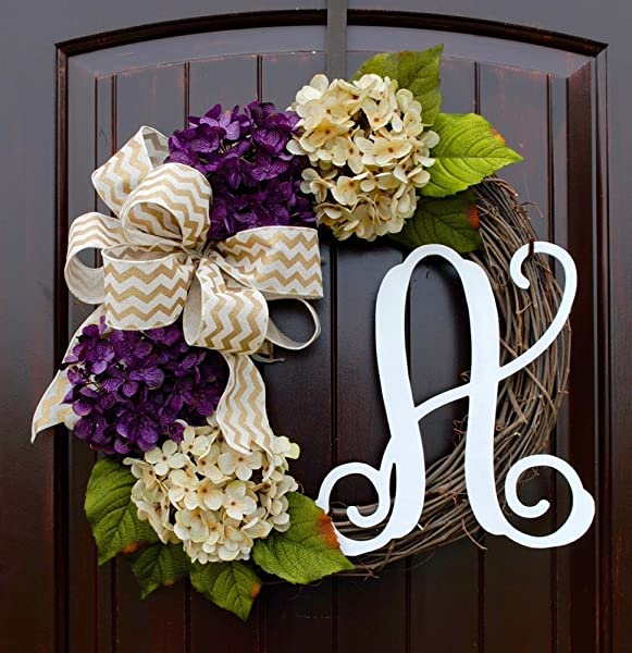 Hydrangea Monogram Letter Wreath With Two Bow Options And Antique White And Purple Hydrangeas On Grapevine Base Farmhouse Style Door Decor