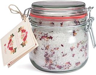 Deluxe natur badsalt rosor blomhav, finaste mineralstensalt för silkeslen mjuk hud (700 g)