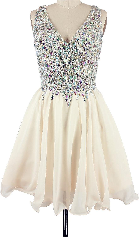 CharmingBridal A Line Crystal V Neck Short Prom Dress Homecoming Party Dress
