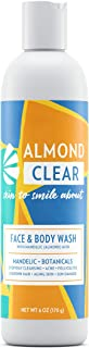 Almond Clear Face & Body Wash | for acne & folliculitis-prone skin, anti-aging, dark spots, ingrown hairs | everyday exfoliating cleanser with mandelic acid and botanicals, 6.7 fl oz